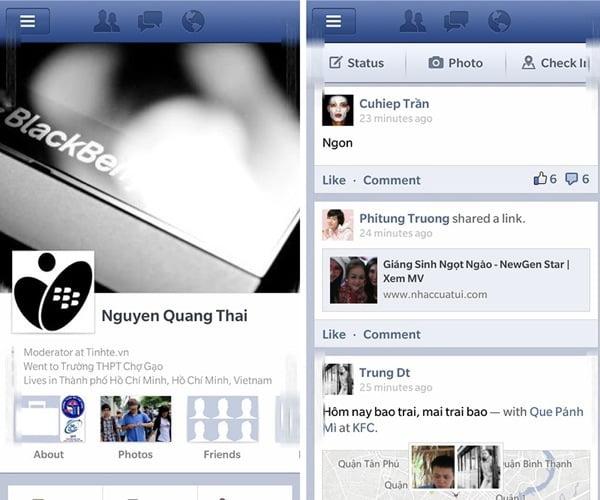 aplicatia facebook bb10