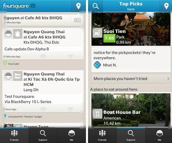 aplicatia foursquare bb10