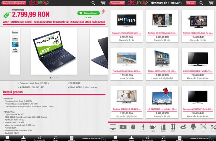 aplicatia oficiala Clickshop tableta iPad Romtelecom