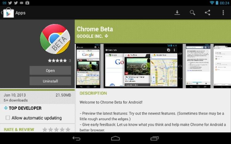 Browserul Chrome beta de la Google pentru Android