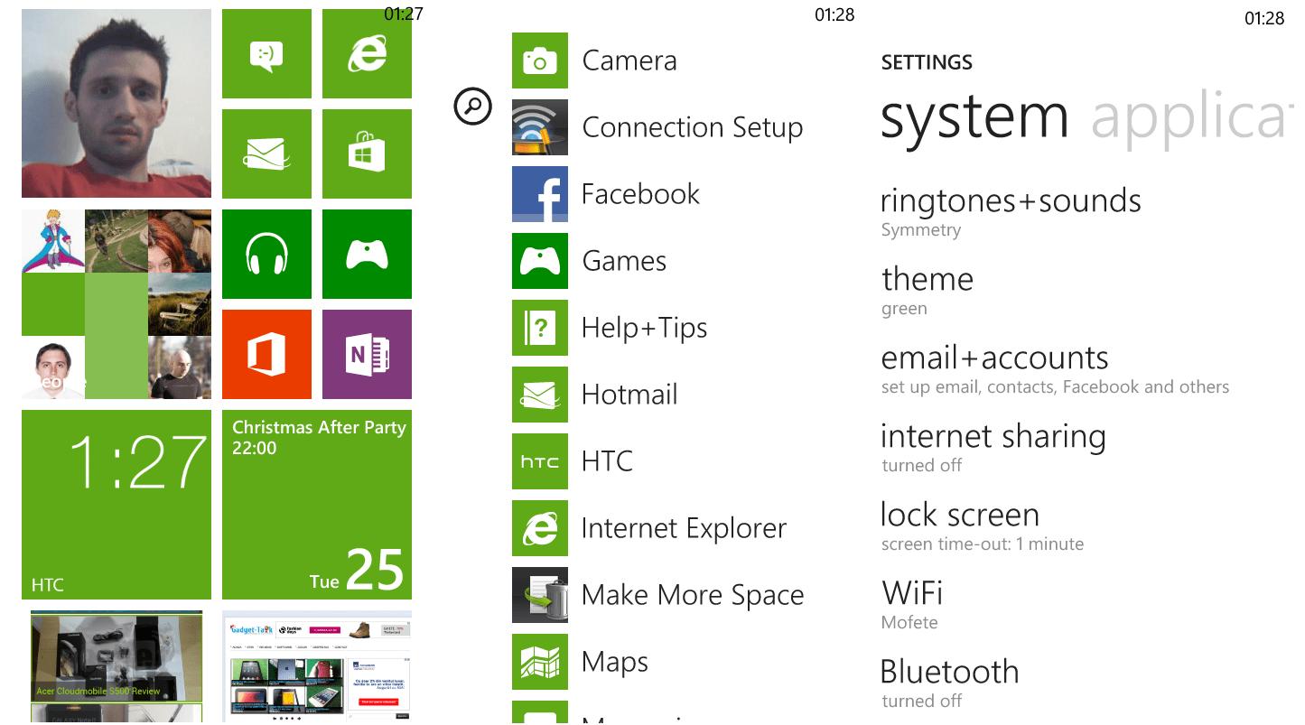 HTC 8S interfata Windows Phone 8 software