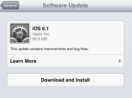 apple ios 6.1 software update