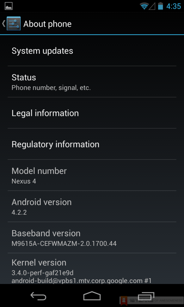google nexus 4 android 4.2.2