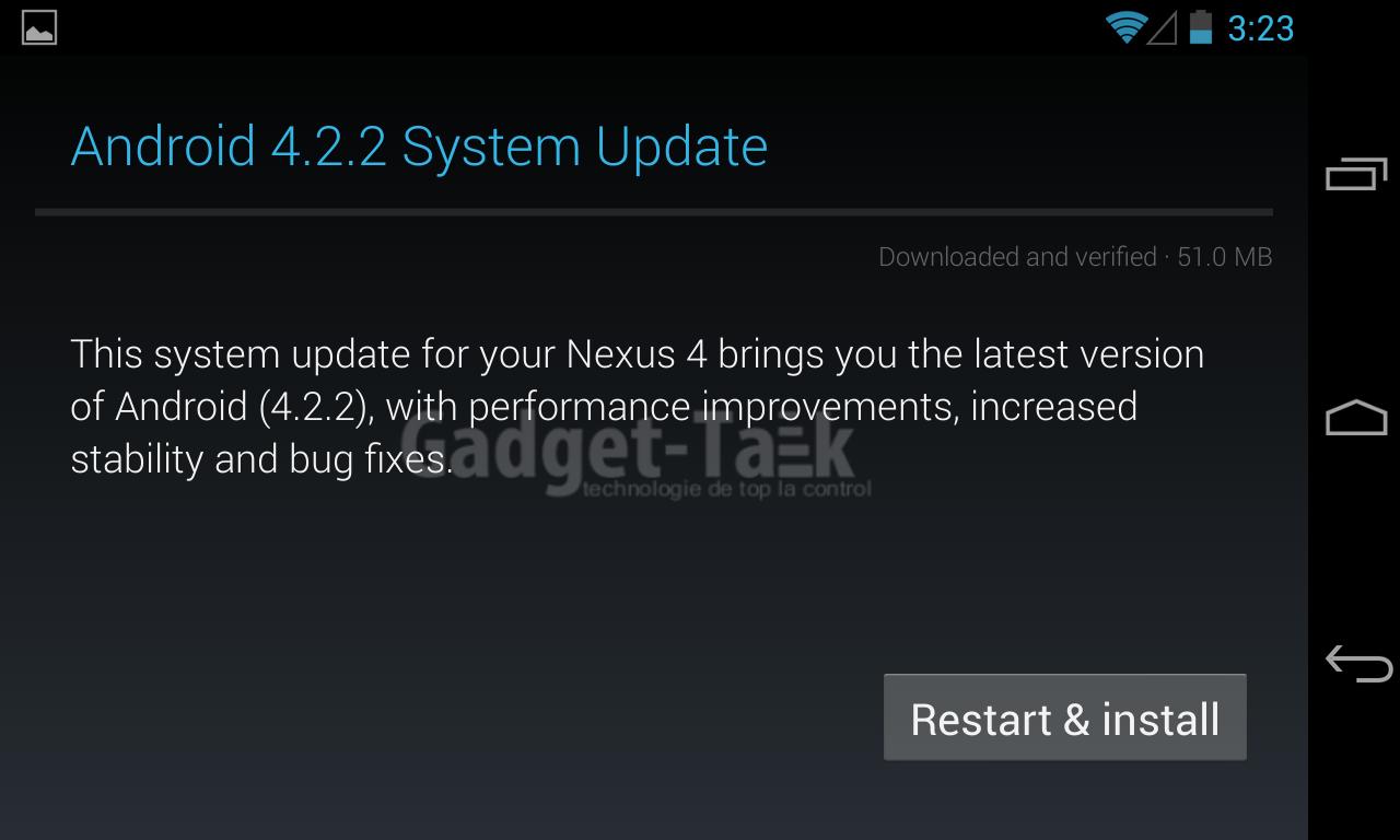 update versiunea android 4.2.2 telefon nexus 4