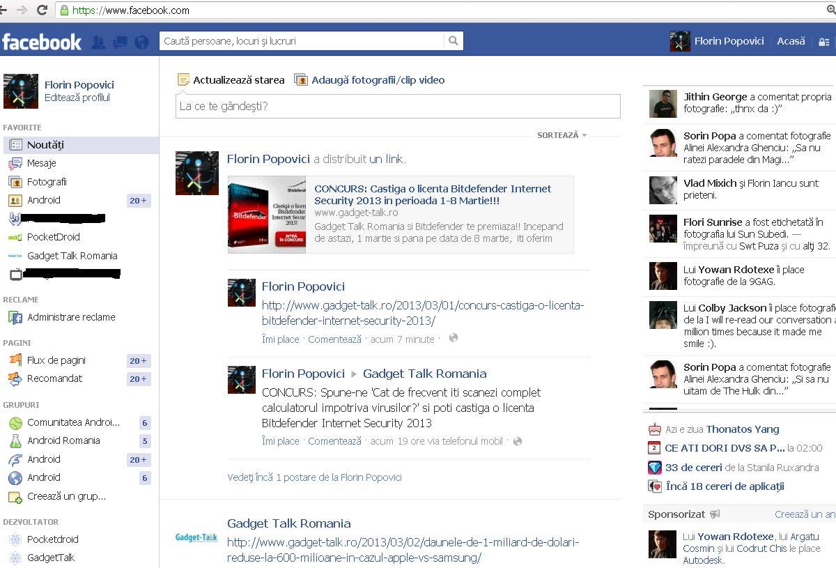 Facebook sectiunea Noutati