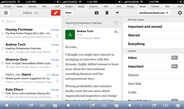 versiunea web Gmail pentru mobile