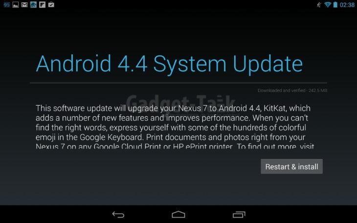 Nexus 7 2013 primeste actualizare Android 4.4