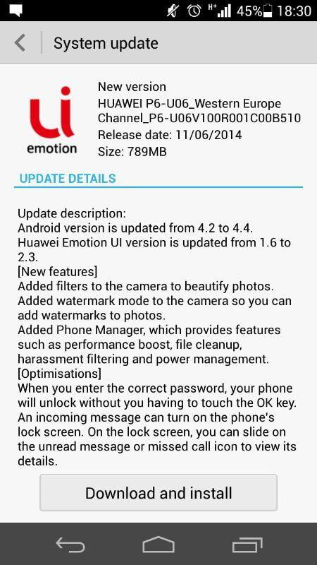 Actualizare Android 4.4 pentru AScend P6