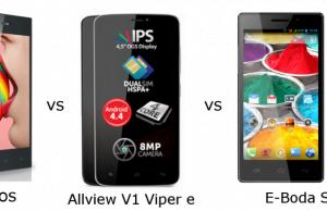 Comparatie: Evolio Neos vs Allview V1 Viper E vs E-Boda Storm X450