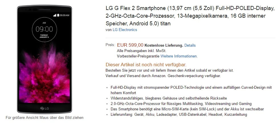 pretul lg g flex 2 amazon germania