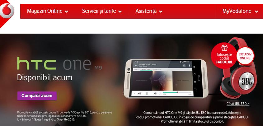 HTC One M9 la precomanda prin Vodafone